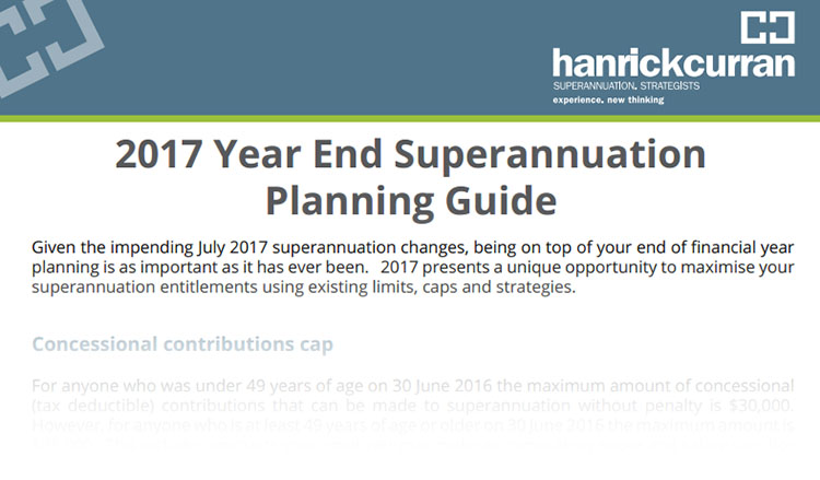 Superannuation year end planning guide 2017